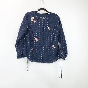 Christopher & Banks Navy Floral Embroidered Top